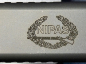 Ace Laser Tek laser engraving of NIPAS Logo on 9mm Glock Pistol2